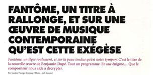 """Un entretien sur """"Fantôme, (...)""""Interview about """"Ghost, (...)"""""""