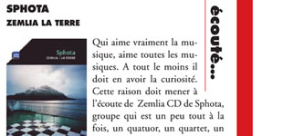 "La presse sur le CD ""Zemlia"" de SphotaPress review about ""Zemlia"" CD by Sphota"
