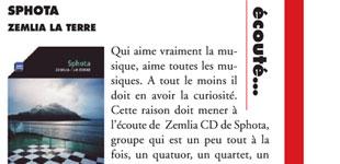 """La presse sur le CD """"Zemlia"""" de SphotaPress review about """"Zemlia"""" CD by Sphota"""